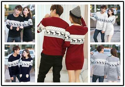 Winter Deer Pattern Sweater Dress Lover Valentine Couple Matching Christmas Gift