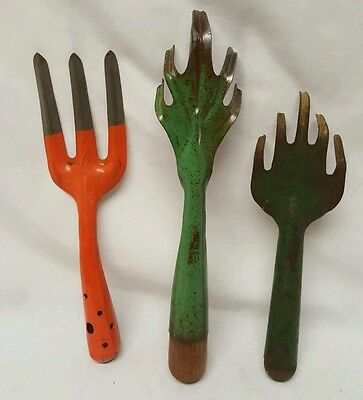 Set 3 vintage Metal Gardening Tools (Japan) 1 Orange Paint 2 green with wood tip
