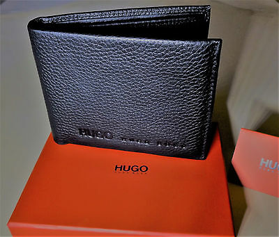 New Hugo Boss Style Wallet Milet Bi-Fold Black Leather With Coin Pocket
