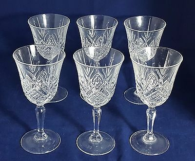 6 Beautiful Vintage Cut Glass / Crystal Wine Glasses by Critsal D'arques (Boxed)