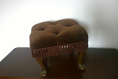 Vintage Retro Queen Anne Regency Style Brown Velour Footstool Foot Stool Button