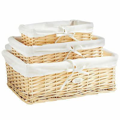 VonHaus Set of 3 Wicker Storage Baskets with Removable Washable Fabric Lining