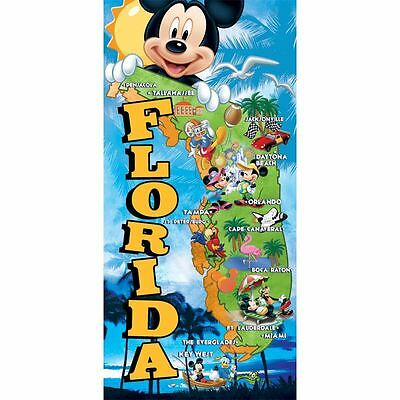Disney Mickey Mouse Gang Florida Map Beach Towel 28 x 58 Pool 28x58