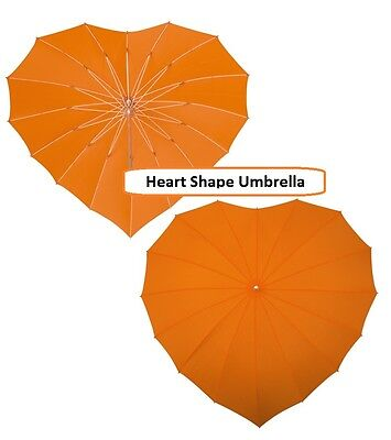 Ladies Heart Shape Windproof Umbrella in Orange with Matching Crook Hook Handle