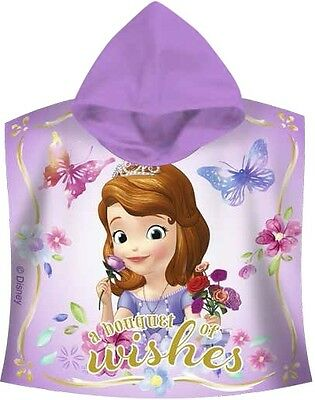 Disney Sofia the First Hooded Bath / Beach Poncho Towel 100% Cotton New Official