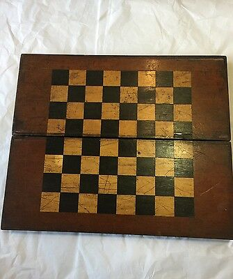 Antique Chess Board Box And Set