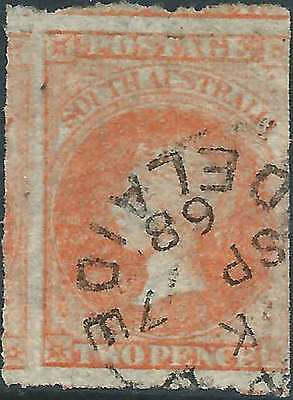 SOUTH AUSTRALIA 1858-1902 Q. Victoria 2d Orange Rouletted ACSC6a nice fine used