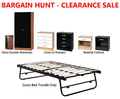 CLEARANCE SALE Gloss Effect Bedroom Furniture Wardrobe Bedside Chest Of Drawers