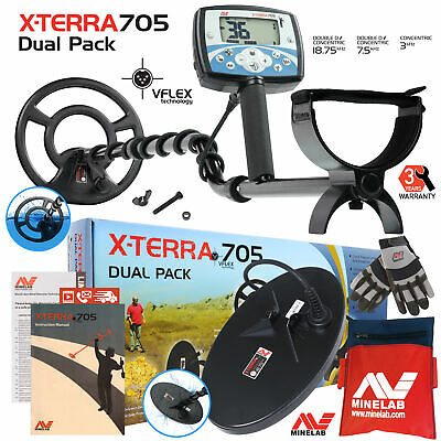 Minelab X-Terra 705 Dual Pack Metal Detector with 2 Coils, Gloves & Tool Pouch
