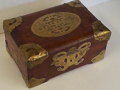 Oriental Wooden box with Brass details...good condition....closure catch missing
