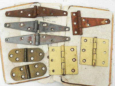 Lot 8 Salvaged Rusty Vintage Sewing Barn Door Hinges Assemblage Steampunk Supply