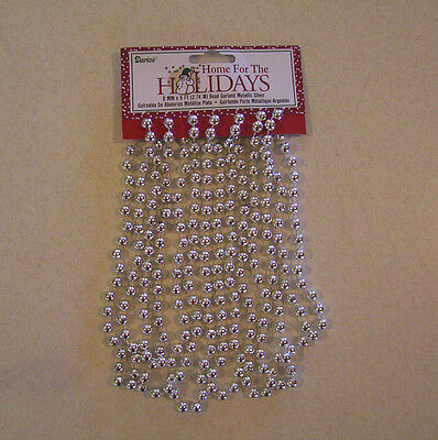 Darice Home for the Holidays Silver Bead Garland 8MM x 9' Christmas
