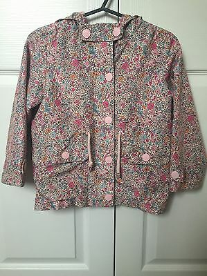 Girls Next Rain Mac Hooded Jacket Coat Floral Ditsy Print 5-6 Years B2