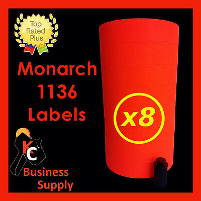 Red Labels for Monarch 1136 Price Gun 8 Sleeves Ink Roller Included Made in USA