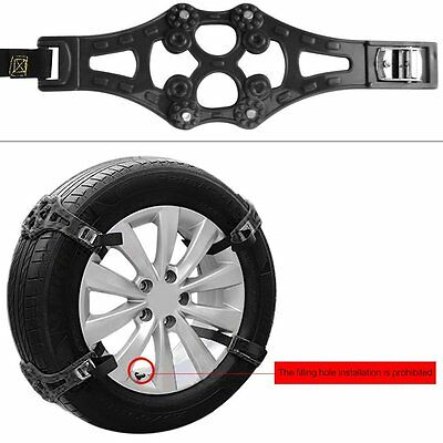 Black Easy To Install Car Snow Tire Chains for Tire 165mm-265mm-Set of 8pcs