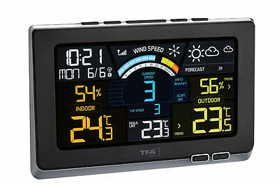 Funk-Wetterstation Spring Breeze Tfa 35.1140.01 Windmesser Farbdisplay Funkzeit