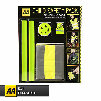 AA CHILD SAFETY PACK - Be Safe Be Seen, Safety Vest, Bands, Stickers and Keyring