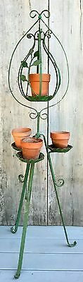 "Antique Green Wrought Iron 52"" Plant Stand w/ Top Hoop & Hook Hanger c. 1940"