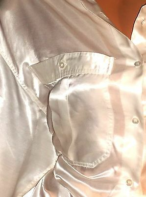 Vtg Real Satin Rayon White Long Slv Shiny Button Up Blouse Fast Sale Day 42