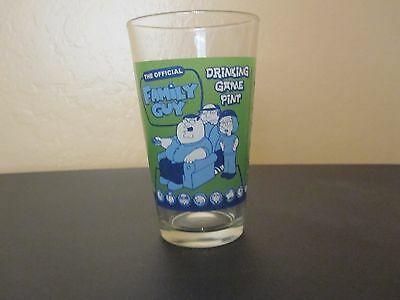 """Family Guy Official Drinking Game Pint Glass - 5.75"""" / Green & Blue"""
