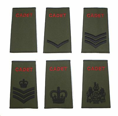 ACF / CCF Army & Combined Cadet Force Green Rank Slides Single or Pair