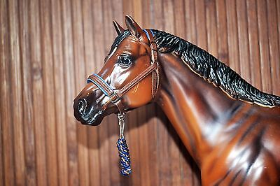 Padded Brown&Blue Leather Halter, Breyer Stone Model Horse,Traditional 1:9 size