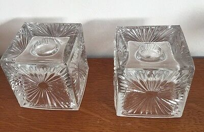 Dartington Glass Candle Holders Frank Thrower 70's