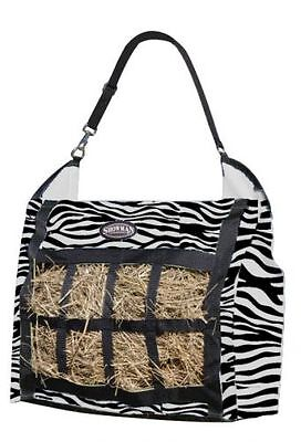 New Showman Zebra Slow Feed Hay Hanging Tote w/Bars Mesh Front