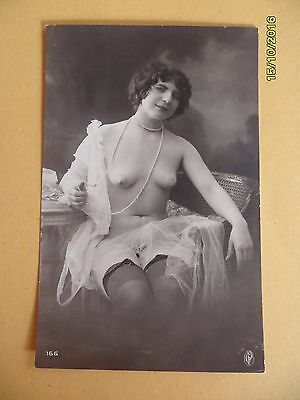 Original French 1910's-1920's Nude Risque Postcard Woman Stockings (#20)