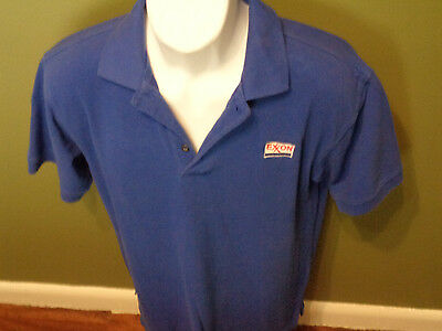 EXXON GAS Station WORK Uniform VINTAGE POLO Shirt  Small Sewn