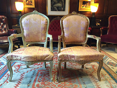 Fabulous Antique Armchairs French Louis XV Style Fauteuils Pair For Reupholstery • £395.00