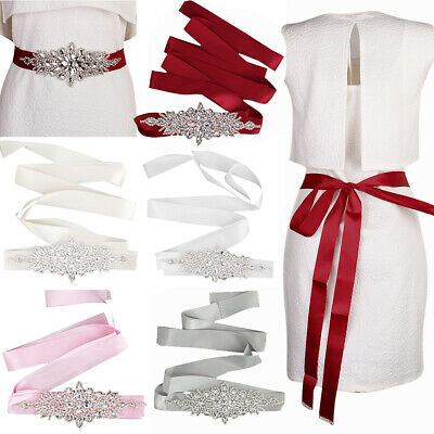 Diamante Rhinestone Bridal Sash Wedding Dress Sash Belt Long Ribbon