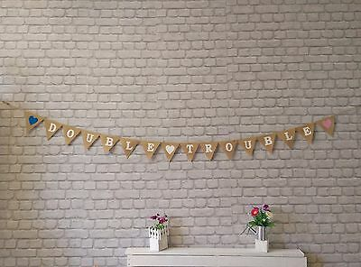 TWINS CHRISTENING New Baby Shower Vintage Hessian Bunting Burlap Double💕Trouble