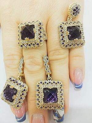 Ladys Turkish Jewelry 925 Sterling Silver / Amethyst Square Set Ring Size 8.5