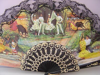 A Pair of Vintage Lace Spanish Matador Bullfight Hand Fans Kitch Decoration