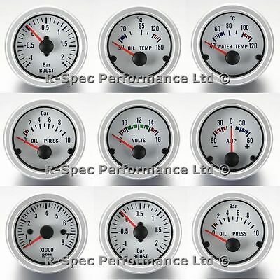 ANY 3 GAUGE OFFER- White Face Boost Oil Pressure Oil / Water Temp Volt Rev Amp