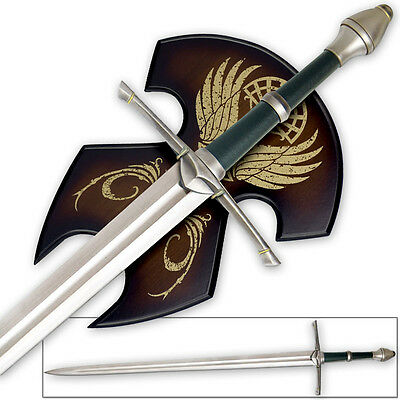 """46"""" Full Tang Lord of the Rings Strider Ranger Sword Display Plaque LOTR Aragorn"""