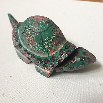Unique Wooden Hand Carved Hand Painted Green Spotted Bobble Head Sea Turtle