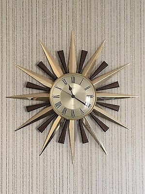 Vintage Authentic Original Fabulous Metamec Sunburst Starburst Wall Clock RETRO