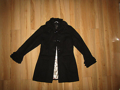 Next, black ruffle neck and sleeve coat jacket 10-11 years