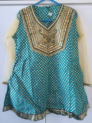 Brand New Terquoise & Gold Girls 3 Piece Asian Dress - Size 22 - Bargain!