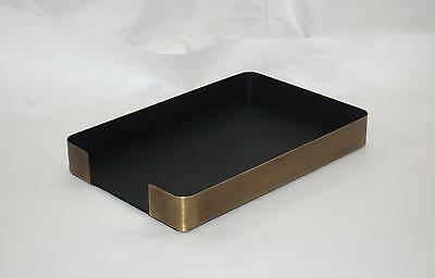 Executive Desk Organizer Office Antique Brass Curved Metal Paper Letter Tray