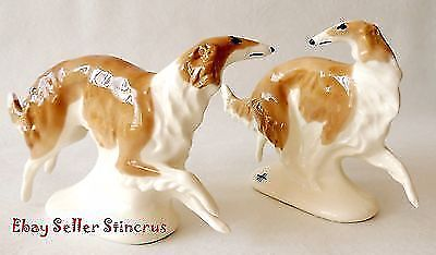 Borzoi Russian graceful & fast run. Two Porcelain figurines Color whity-brown