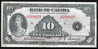 "Bc-7 1935 $10 Ten Dollars Bank Of Canada Banknote ""English"" Very Fine+"