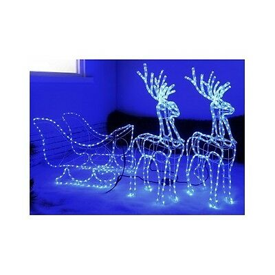 Outdoor Christmas LED Lights Reindeers And Sleigh Silhouette 3D Blue Home Garden