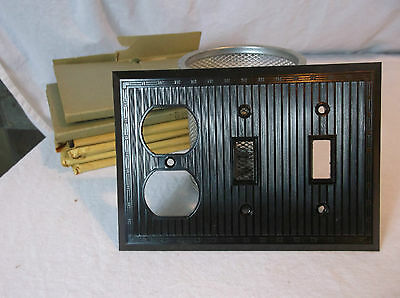 Brown Bakelite Double Switch/Outlet Combo Vintage Switchplate Art Deco 3 gang