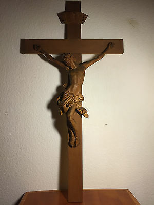 Large Antique Hand Carved Wood Woodcarving Crucifix Cross Jesus Corpus Statue