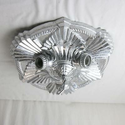 Rare Art Deco Ceiling Light Fixture Two bulb Silvered Metal Flush Mounted 1930s