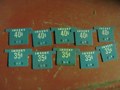 10- Old Pricing tags for National Vendors vending machine 35-40 cents