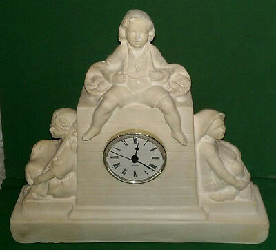Vintage Plaster/chalkware Clock Surround with figures of children - No. 236 O.P.